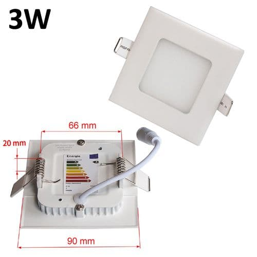 JSG Accessories® LED Square Recessed Ceiling Panel down Light Ultra-slim Lamp Ultra-Thin 3W